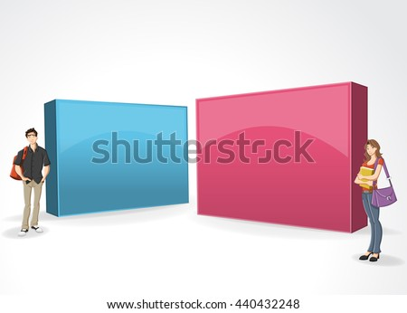 3d design of a text box frame background with with cartoon teenager students  - stock vector