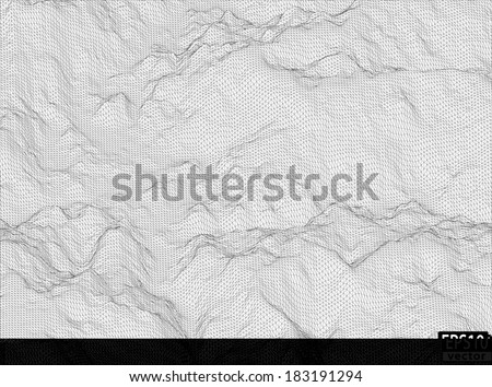 3D Detailed Hill Wireframe | EPS10 Vector - stock vector