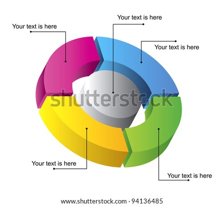 3D diagram with space to add text - stock vector