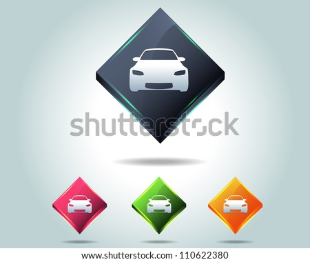 3d Diamond Car Icon Button Vector Design Multicolored - stock vector