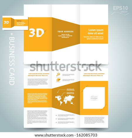 D Dimensional Design Brochure Template Folder Stock Vector - 3d brochure template