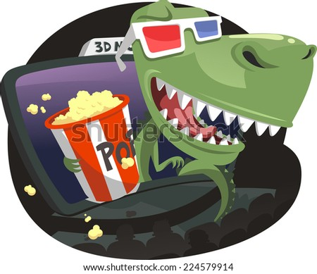 3D Dinosaur jumping out of screen in Movie Theater, with 3D red and blue glasses eating pop corn. Vector illustration cartoon. - stock vector