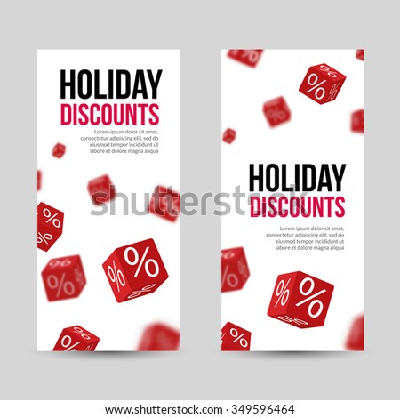 3D Discount Holiday SALE Red Box Banners for Business Designs. - stock vector