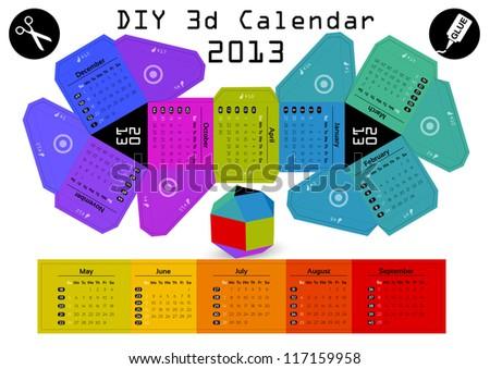 3d DIY Calendar 2013 3,1Ã?Â?2,9 inch compiled size - stock vector