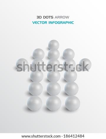 3D dots Arrow. Business concept. Vector design. - stock vector