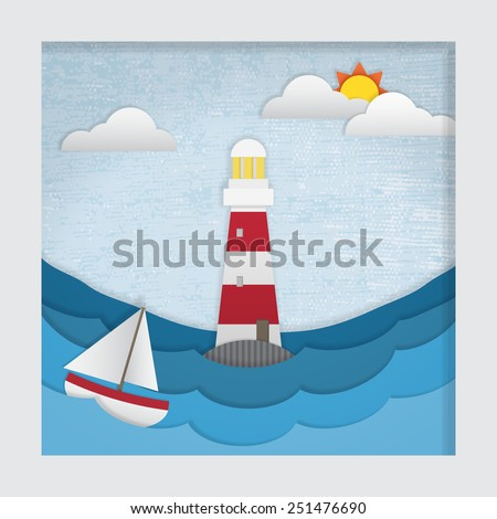 3d effect cut-out picture of a lighthouse during the day. This file is Vector EPS10. It uses gradient mesh, transparencies and clipping mask
