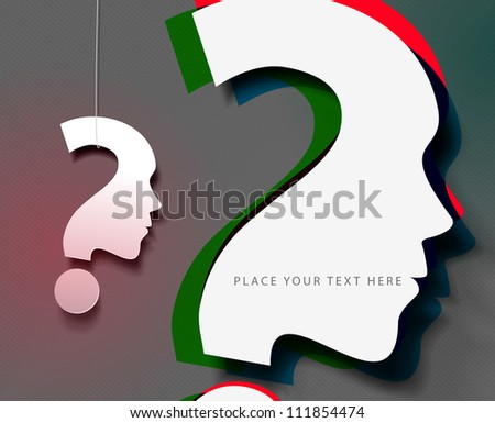 3d effect  symbol of question icon, vector design. - stock vector