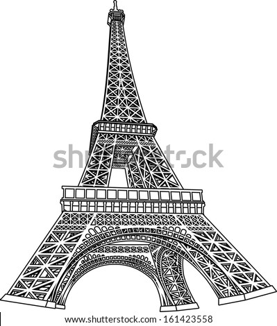 3D Eiffel Tower Coloring Book Illustration - stock vector