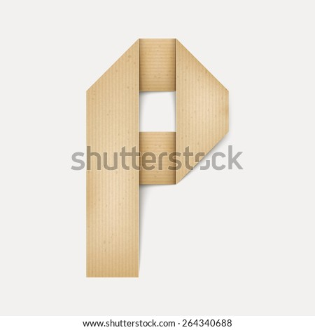 3d elegant folded paper letter P isolated on beige background - stock vector
