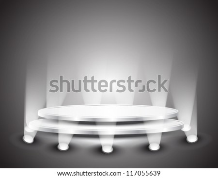 3d Empty white podium with light for design, vector