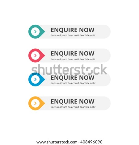 3d Enquire Now Button set with icon. beautiful text button with icon. Orange Button, Blue Button, Red Button, Turquoise button. Call to action icon button. Flat Button Set. Vector Illustration - stock vector