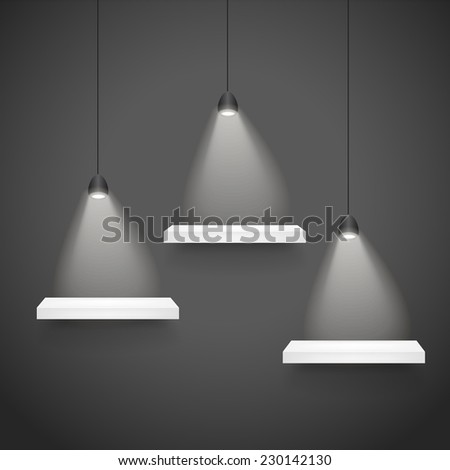 3d exhibition shelves with soft light over black background - stock vector