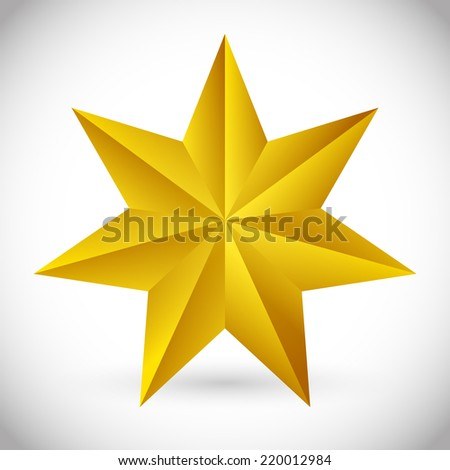 3d faceted, beveled 6 pointed star - stock vector