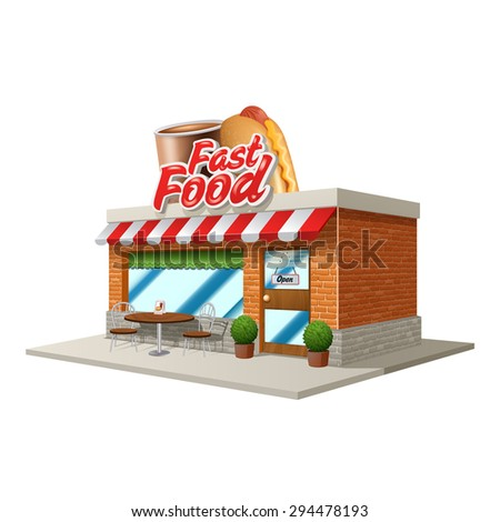 Fast Food Resturant Cartoon Buildings