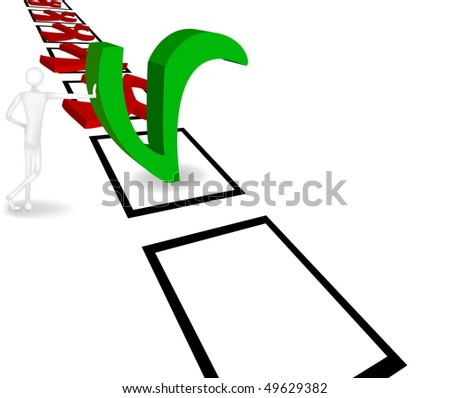 3D figure of a standing man with a hand on a green check button. Vector illustration - stock vector