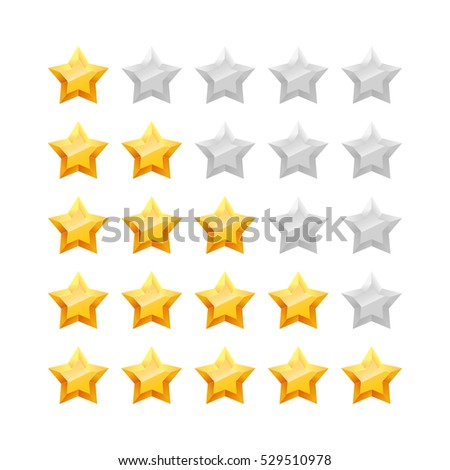 3D five stars rating icon set. Isolated quality rate status level for web or app. Vector illustration