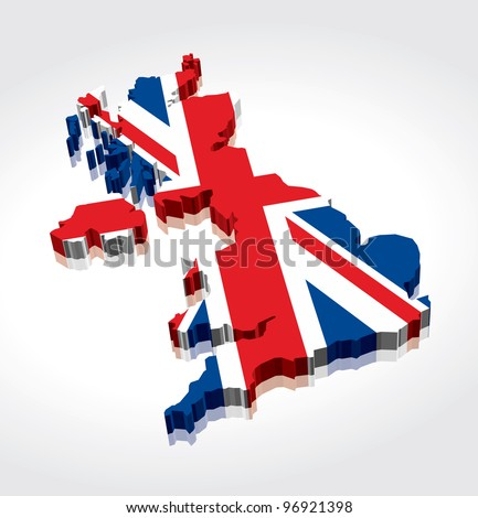 3D Flag Map of the UK (United Kingdom) - stock vector
