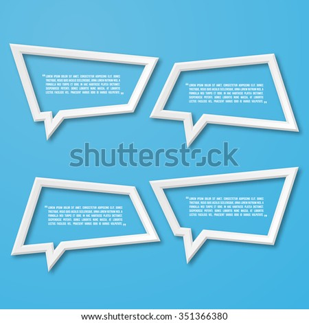 3d flat frame speech bubble icon for text quote. Vector blank template - stock vector