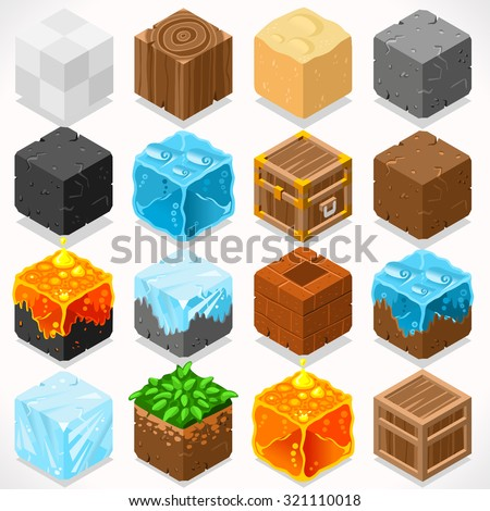 3D Flat Isometric Mine Cubes HD Starter Kit Ground Water Iron Coal Grass Rock Ice Sand Wood Stone Elements Icon Mega Set Collection for Builder Craft. Build Your Own World - stock vector