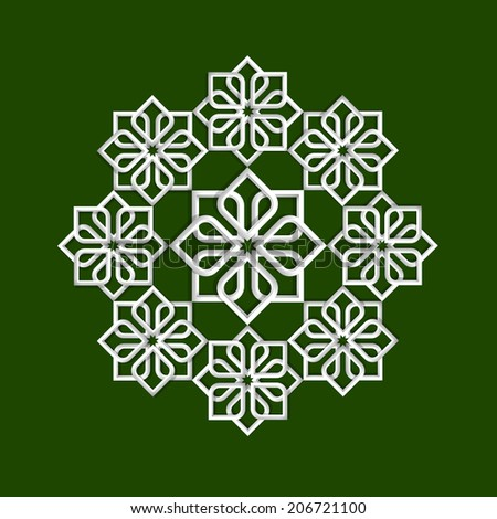 3d flower pattern in arabic style. Vector illustration  - stock vector