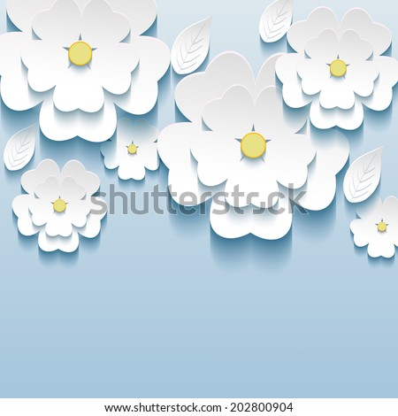 3d flowers sakura white, trendy beautiful wallpaper. Greeting or invitation card with stylized flowers sakura and leaves. Modern stylish background. Vector illustration - stock vector