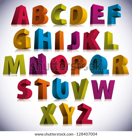 3D font, big colorful letters standing, vector eps 8. - stock vector