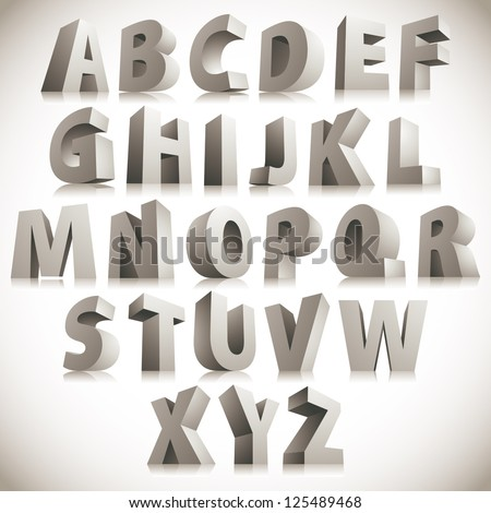 3D font, big white letters standing, vector eps 8. - stock vector