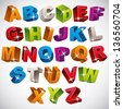 3D font, bold colorful alphabet, vector. - stock photo