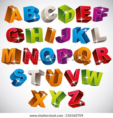 3D font, bold colorful alphabet, vector. - stock vector