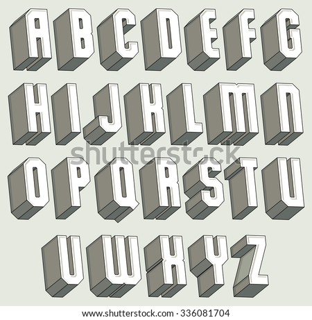3d font, geometric three-dimensional letters set, monochrome alphabet for design. - stock vector