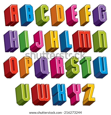 3d font, vector bold and heavy letters, geometric dimensional alphabet, best for use in advertising and web design. - stock vector