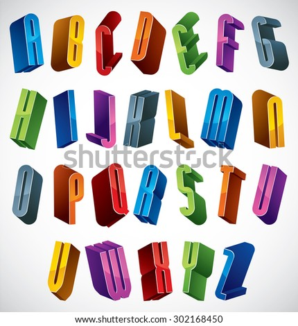 3d font, vector colorful glossy letters, geometric dimensional alphabet, best for use in advertising and web design. - stock vector