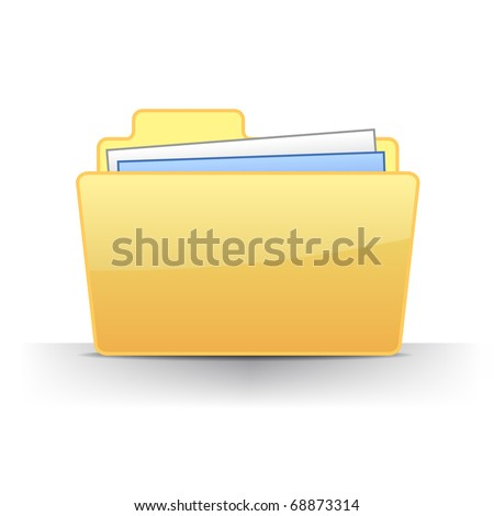 3D full files folder icon vector illustration - stock vector