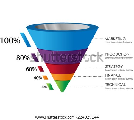 3D Funnel - stock vector
