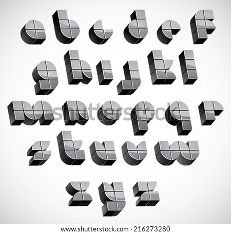 3d futuristic font made with boxes, geometric dimensional letters set, monochrome alphabet for design. - stock vector