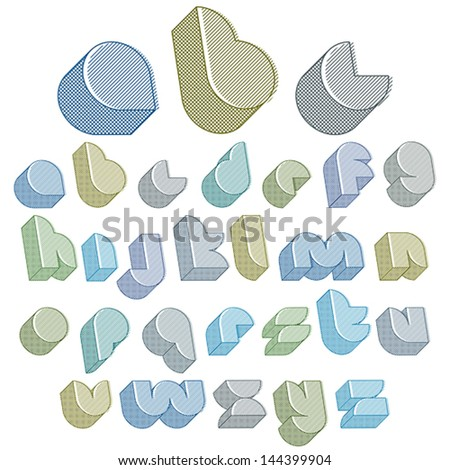 3d futuristic font with lines textures, simple shaped letters alphabet made with round shapes, great font for design, advertising, web and headlines. - stock vector