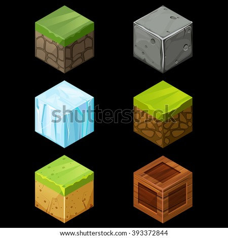 3D Game block Isometric Set , Cube for game, element texture, nature brick for computer game illustration