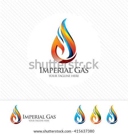 3D gas logo design vector , flame illustration on white background. - stock vector