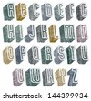 3d geometric font with halftone dots texture, old letters alphabet. - stock vector