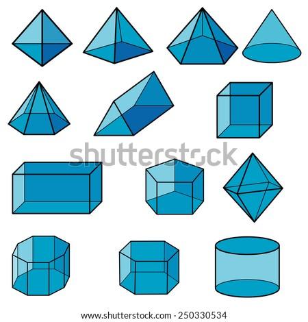 3d geometric for kid vector  - stock vector