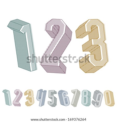 3d geometric numbers set with lines textures, colorful numerals for advertising and web design. - stock vector