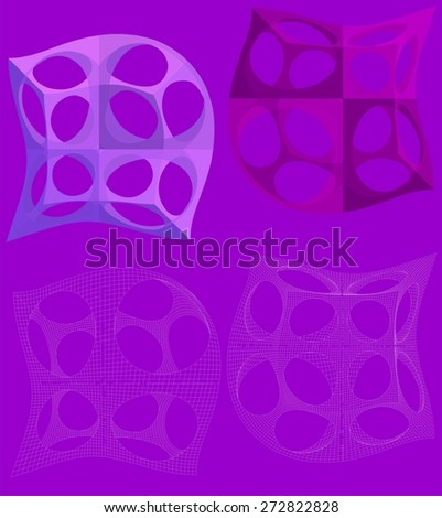 3D Geometric Organic Wireframe Shape Vector 45