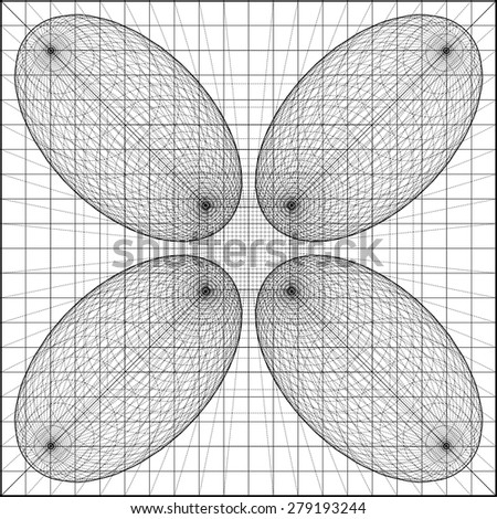 3D Geometric Organic Wireframe Shape Vector 58 - stock vector