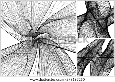 3D Geometric Organic Wireframe Shape Vector 59 - stock vector