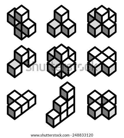 3d Geometric shapes, 3d Impossible objects, cubes in different formation. - stock vector