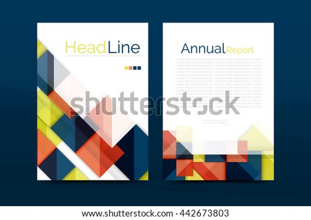 3d geometric shapes design a4 cover. Vector business corporate brochure identity template
