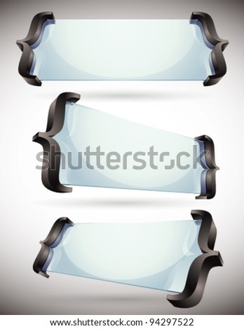 3d glass made banners with spelling brackets, vector set.