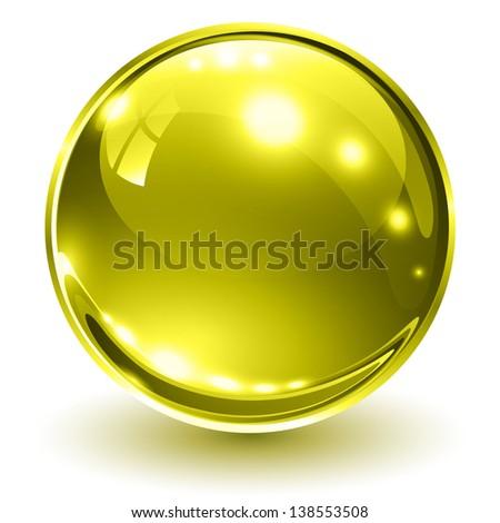 3D glass sphere gold, vector illustration. - stock vector