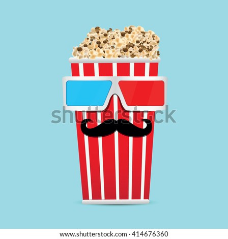 3D glasses and big popcorn,mustache vector illustration. - stock vector