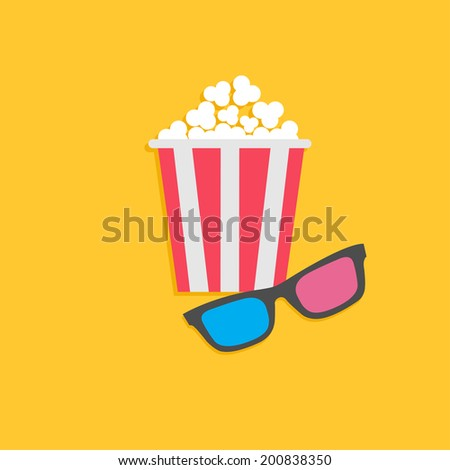 3D glasses and popcorn. Cinema icon in flat design style. Vector illustration - stock vector
